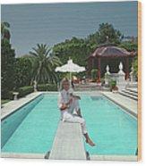 Pool And Parasol Wood Print