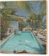 Pool At Las Hadas Wood Print