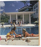 Poolside Backgammon Wood Print