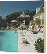 Poolside Chez Holder Wood Print