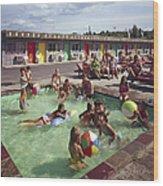 Poolside Fun At Arca Manor Wood Print
