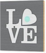 Pop Art Love In Gray Wood Print