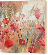 Poppy Fields Forever Wood Print