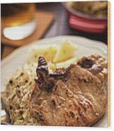 Pork Chop And Sauerkraut Wood Print
