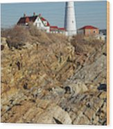 Portland Head Light - Cape Elizabeth Maine Wood Print