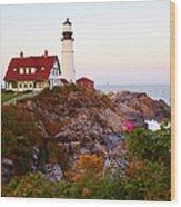 Portland Head Lighthouse At Susnet Wood Print