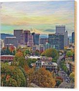 Portland Oregon Downtown Cityscape In Wood Print