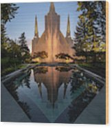 Portland Temple Night Wood Print