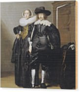 Portrait Of A Betrothed Couple  Wood Print