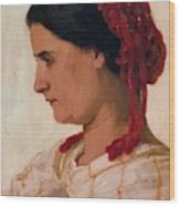 Portrait Of Angela B Cklin In Red Fishnet Wood Print