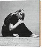 Portrait Of Joni Mitchell Wood Print
