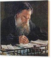 Portrait Of Leo Tolstoy Wood Print
