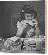 Portrait Of Little Girl Eating Buttered Wood Print
