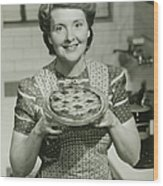 Portrait Of Mature Woman Holding Pie Wood Print