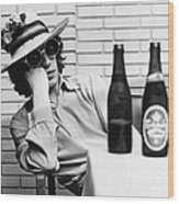 Portrait Of Mick Jagger With A Sun Hat Wood Print