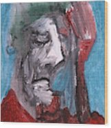Portrait On Blue Wood Print