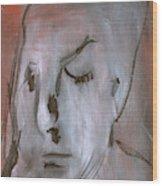 Portrait On Red Wood Print