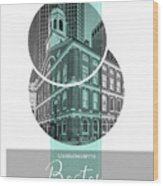 Poster Art Boston Faneuil Hall - Turquoise Wood Print