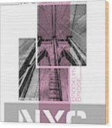 Poster Art Nyc Brooklyn Bridge Details - Pink Wood Print