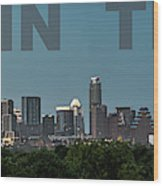 Poster Of Downtown Austin Skyline Over The Green Trees Wood Print