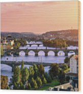 Prague, Over View Of City And River Wood Print