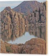 Prescott Arizona Watson Lake Hill Rcoks Water Sky Clouds 3 122019 4865 Wood Print