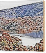 Prescott Arizona Watson Lake Rocks, Hills Water Sky Clouds 3122019 4867 Wood Print