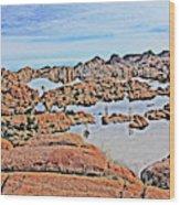 Prescott Arizona Watson Lake Rocks, Hills Water Sky Clouds 3122019 4870 Wood Print