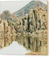 Prescott Arizona Watson Lake Water Mountains Lake Rocks Sky Reflections 4831 Wood Print