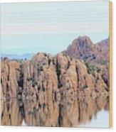 Prescott Arizona Watson Lake Water Mountains Lake Rocks Sky Reflections 4835 Wood Print