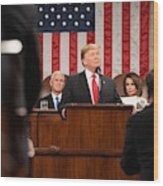 President Donald J. Trump Delivers His State Of The Union Address At The U.s. Capitol 2 Wood Print