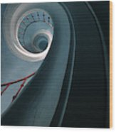 Pretty Blue Spiral Staircase Wood Print