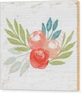 Pretty Coral Roses - Art By Linda Woods Wood Print