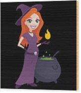 Pretty Witch With Cauldron Wood Print