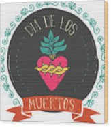 Print - Mexican Heart, Day Of The Dead Wood Print