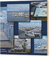 Provincetown Marina Cape Cod Massachusetts Collage Wood Print