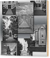 Provincetown Town Hall Cape Cod Massachusetts Collage Bw Vertical Wood Print
