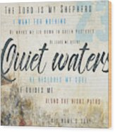 Psalm 23 Quiet Waters Wood Print