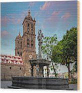 Puebla Zocalo And Cathedral Wood Print