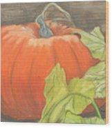 Pumpkin In Patch Wood Print