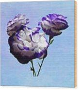 Purple And White Lisianthus Wood Print