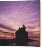 Purple Sunrise in Door County Wood Print