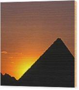 Pyramid Of Mycerinus At Giza At Sunset Wood Print