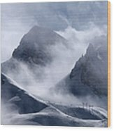 Pyramide And Roc Merlet In Courchevel Wood Print