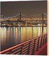 Queensboro Bridge At Night Wood Print