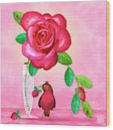R Is For Rose And Robin Wood Print