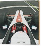 Racing Driver Approaching Finishing Wood Print