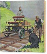 Railway Automobile Wood Print