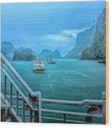 Rain Aboard Au Co Cruise Ha Long Bay  Wood Print