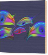 Rainbow Blue Fish Wood Print